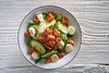 Salmon salad of mozzarella tomato cucumber