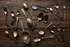 Vintage retro tea spoons and Strainers