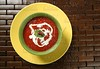 Tomato soup with basil and redcurrant