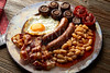 English breakfast sausages egg beans bacon