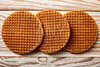 Golden Waffle wafer biscuits in a row