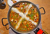 Paella from Spain recipe process ad the rice