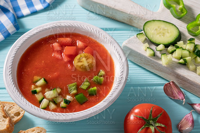 Gazpacho Andaluz is an Andalusian tomato cold soup from Spain