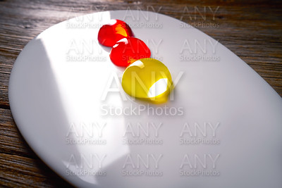 Molecular cuisine concept spheritions jelly texture