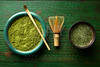 Matcha tea powder bamboo chasen and spoon