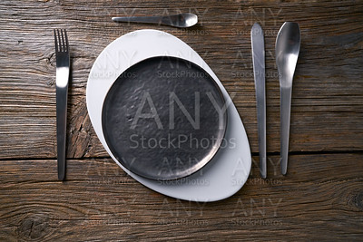Modern cuisine plate table service with cutlery