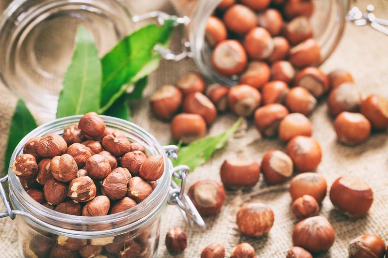 Hazelnuts on a burlap
