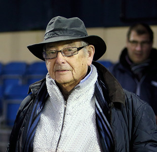 Tyrone Mings getting man of the match and receiving his award from long time Chippenham fan actor Derek Fowlds 12th November 2012