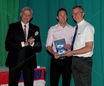 Iain Harvey gets Special Award 10 Years Service and 300 Games from Mark Collier and Neil Blackmore