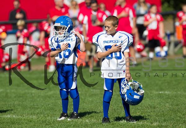 SciCoh Sharks 2nd/3rdth Grade Football Team battled against Bridgewater at Legion Field in Bridgewater, Mass on September 29, 2013