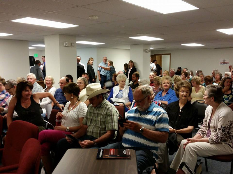 More than 90 people fill the Assembly Room Monday night, June 2, 2014, at the Morgan County Administration Building for the Republican candidates forum. Ballots have already been mailed out for the June 24 primary election. (Jenni Grubbs/Fort Morgan Times)