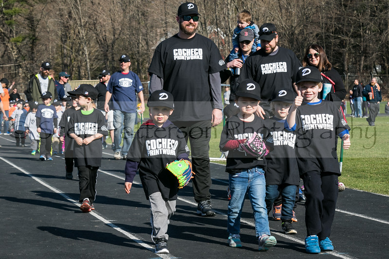 Big thumbs up from Dover Baseball players of the Cocheco Printworks  team participating in opening day ceremonies in Dover Saturday. [Scott Patterson/Fosters.com]