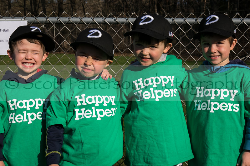 Dover Baseball players Chase Dalton, John Coleman, Austin Prescott and Noah Berube, left to right, participate in opening day ceremonies in Dover Saturday. [Scott Patterson/Fosters.com]