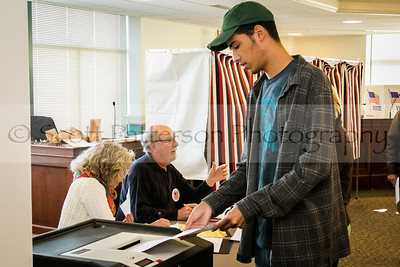 First time voter Cory Jones, 18, drops off his ballot at Somersworth City Hall Tuesday. Photo by Scott Patterson/Fosters.com