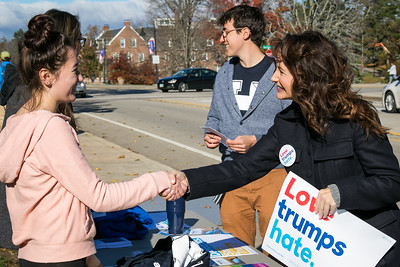 Actress Kristin Davis shakes hands with potential voters while campaigning for Hillary Clinton at UNH in Durham Friday. Photo by Scott Patterson/Fosters.com