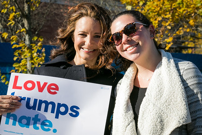 Actress Kristin Davis, left,  meets with students while campaigning for Hillary Clinton at UNH in Durham Friday. Photo by Scott Patterson/Fosters.com