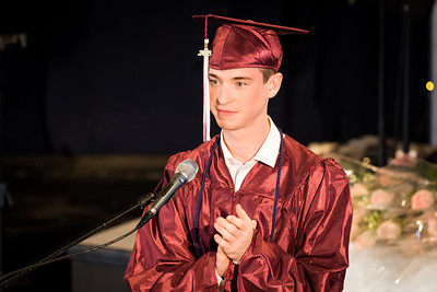 Class President Ethan Foley speaks during the Portsmouth Christian Academy at Dover graduation held at Bethany Church in Greenland Friday. [Scott Patterson/Fosters.com]