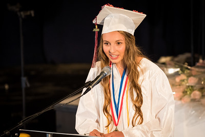 Salutatorian Kendra Leavitt speaks during the Portsmouth Christian Academy at Dover graduation held at Bethany Church in Greenland Friday. [Scott Patterson/Fosters.com]
