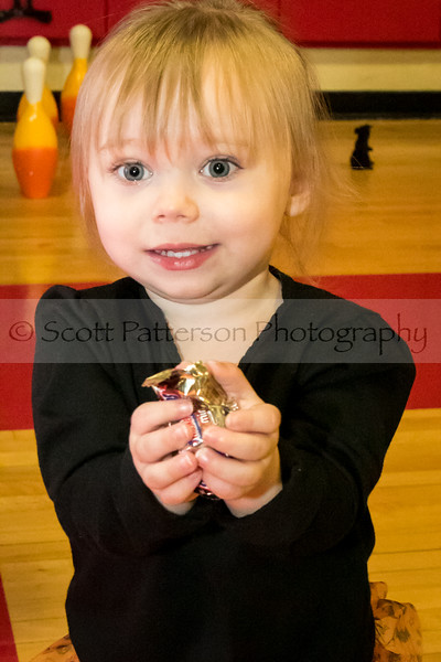Arianna Demanche, age 2, is excited to show off her candy at the Rochester Recreation Department's Halloween Party in Rochester Saturday. Photo by Scott Patterson/Fosters.com