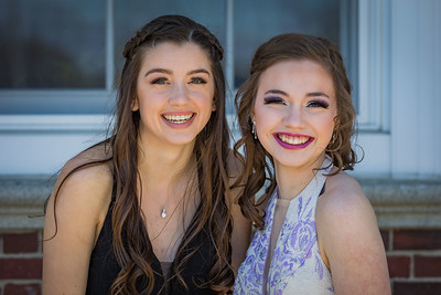 Emily Dickson, left, and Analise Grassie, right, celebrate before Spaulding High School's 2019 Prom Grand March in Rochester Saturday May11th. [Scott Patterson/Fosters.com]