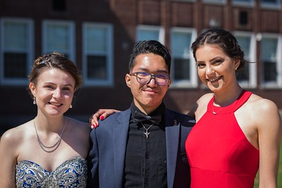 Elsa Leblanc, Abe Siregar and Marta Bresciani, left to right, celebrate before Spaulding High School's 2019 Prom Grand March in Rochester Saturday May11th. [Scott Patterson/Fosters.com]