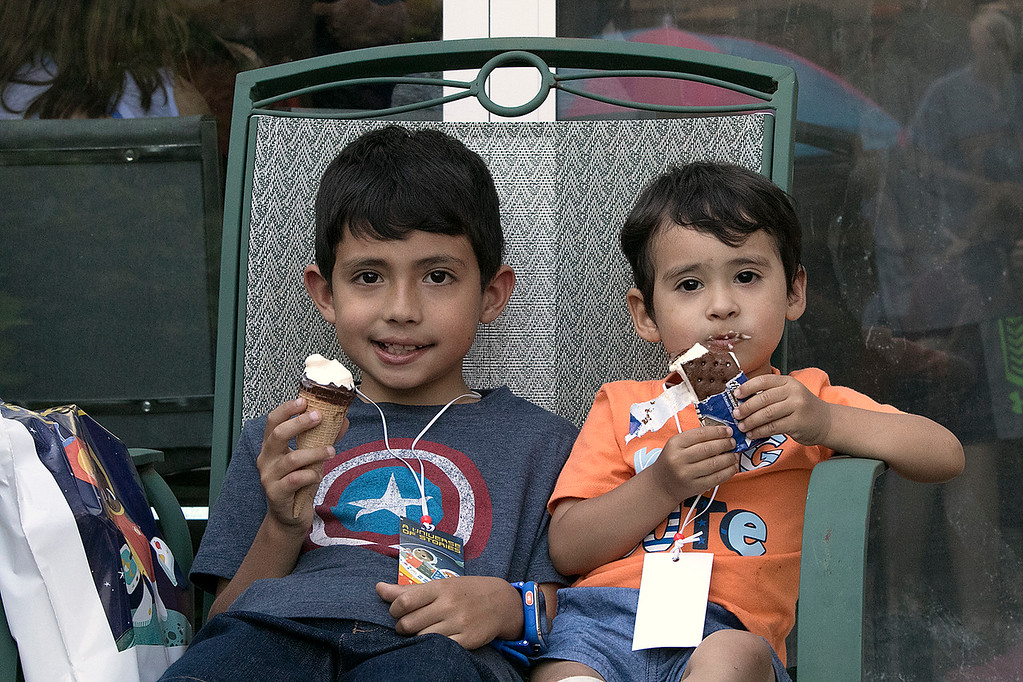 . The Fitchburg Public Library held a summer Reading Kickoff Party on Thursday, June 27, 2019. Enjoying some ice cream during the party is Julian Maldonado, 6, and Nicolas Maldonado, 2, from Fitchburg. SENTINEL & ENTERPRISE/JOHN LOVE