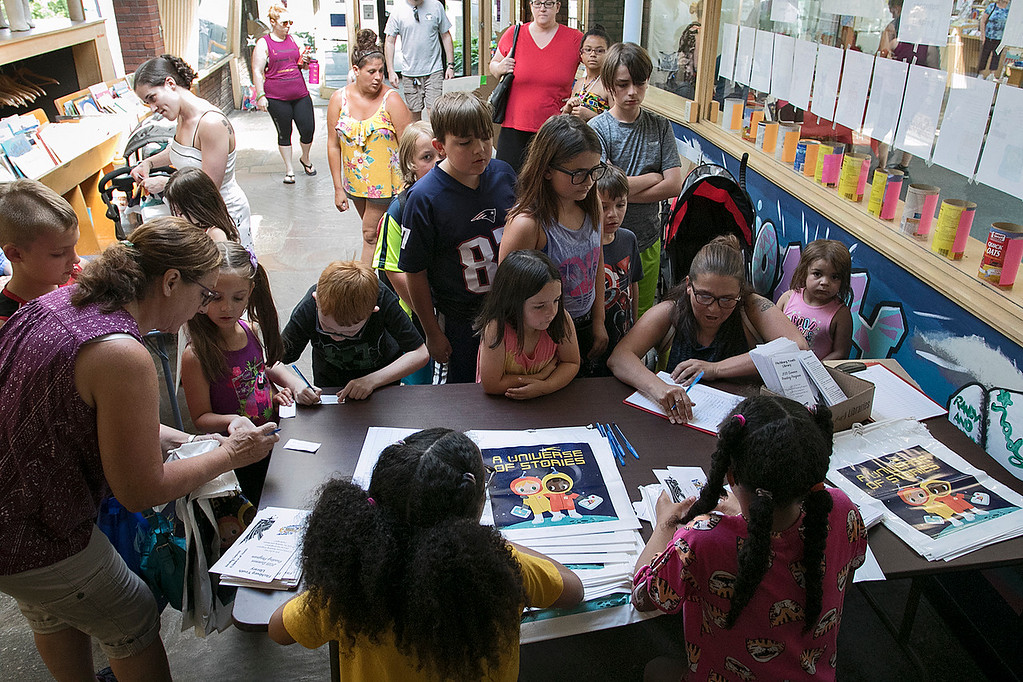 . The Fitchburg Public Library held a summer Reading Kickoff Party on Thursday, June 27, 2019. Many kids sign up for the summer reading program during their kickoff. SENTINEL & ENTERPRISE/JOHN LOVE