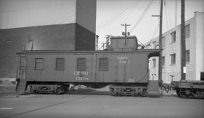 2009.026.25.1554--ritzman 116 neg--CB&Q--wooden caboose 13798 with float car and NWS&W 0-8-0 80 for Percy-Page-Rowe campaign train--Sterling IL--1966 1030