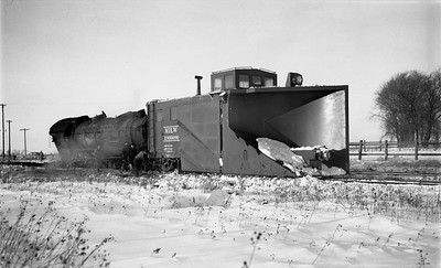 2009.026.17.8600--ritzman 116 negative--CMStP&P--Russell snow plow X-900090 derailed with steam locomotive 327--Bradt IL--1950 1209