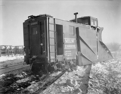2009.026.17.8602--ritzman 4x5 negative--CMStP&P--Russell snow plow X-900090 derailed with steam locomotive 327--Bradt IL--1950 1209
