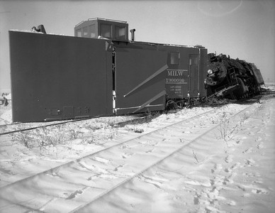 2009.026.17.8603--ritzman 4x5 negative--CMStP&P--Russell snow plow X-900090 derailed with steam locomotive 327--Bradt IL--1950 1209