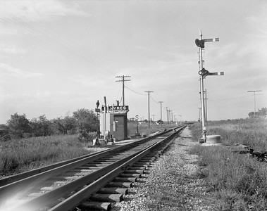 2009.026.19.8617--ritzman 4x5 negative--CMStP&P--view siding switches--Ayres WI--1955 1006. Looking north, CB&Q at left.