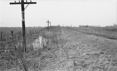 2009.026.19.8644--ritzman 116 negative--CMStP&P--view milepost 36--southeast of DeKalb IL--1947 0421. Looking southeast on same curve as .8642.