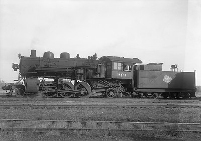 """2009.026.01.09431--ritzman 5x7 neg--CMStP&P--steam locomotive 2-6-2 K1as 901--DeKalb IL--1947 1028. """"Sample of back-in technique which appeared after abandonment (Aurora line) in August 26, 1947. Originally August-September head in, back out. Then in October, back-in, head out mainly because trips down the line for scrap need engine headed north. 901 and 920 acquired back-up lights, numbers, etc."""" FRR"""