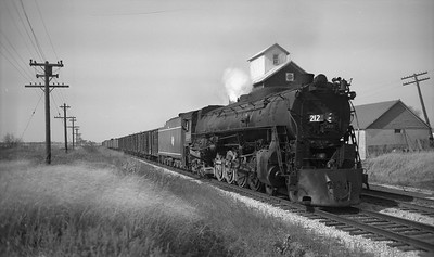 2009.026.01.09345--ritzman PC neg--CMStP&P--steam locomotive 4-8-4 S2 212 on eastbound freight train--Davis Jct IL--1953 1018