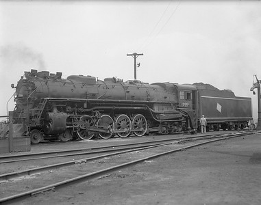 2009.026.01.8065--ritzman 4x5 negative--CMStP&P--steam locomotive 4-8-4 S-2 209 on ready track--Bensenville IL--1940 0614