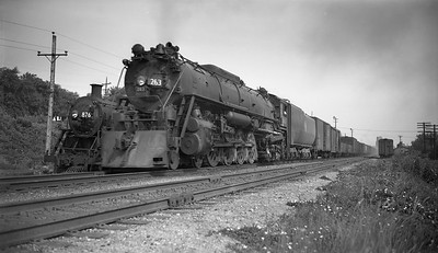2009.026.01.09353--ritzman PC neg--CMStP&P--steam locomotive 4-8-4 S3 263 on freight train--Elgin IL--1946 0707