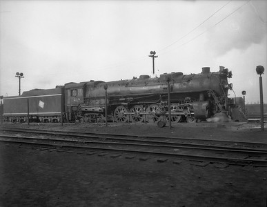 2009.026.01.8069--ritzman 4x5 negative--CMStP&P--steam locomotive 4-8-4 S-2 218--Bensenville IL--1950 1117