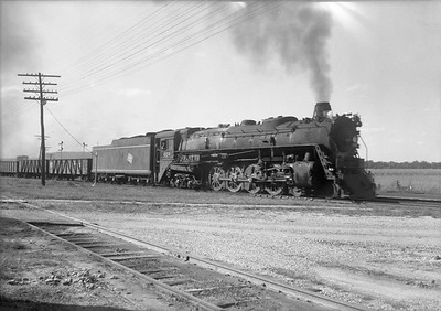 2009.026.01.09348--ritzman 5x7 neg--CMStP&P--steam locomotive 4-8-4 S2 223 on freight train--Green Island IA--1941 0911