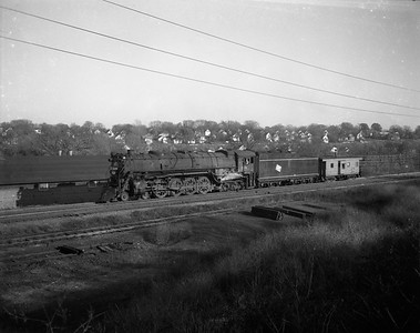 2009.026.01.8071--ritzman 4x5 negative--CMStP&P--steam locomotive 4-8-4 S-2 220 with caboose--Elgin IL--1949 1029