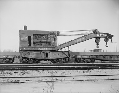 2009.026.17.11474--ritzman 4x5 neg--C&NW--steam wrecker 6151--DeKalb IL--1960 1228. Bucyrus 166, built at South Milwaukee, Wis. 100 ton capacity. From Huron, SD. Sold to Industrial Service and Salvage Co., Joliet, IL. Used tender X263599.