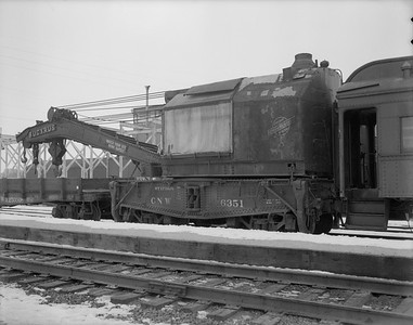 2009.026.17.11480--ritzman 4x5 neg--C&NW--steam wrecker 6351--DeKalb IL--1955 0208. Built by Bucyrus, South Milwaukee, Wis. Serial #143. From Huron, SD.