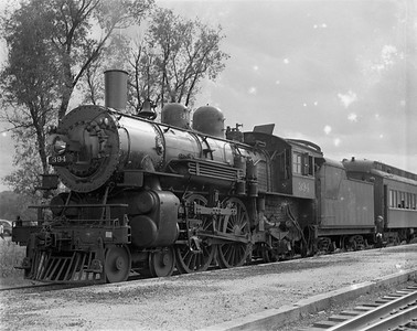2009.026.01.10260--ritzman 4x5 negative--C&NW--steam locomotive 4-4-2 D 394 on passenger train--Williams Bay WI--1938 0612