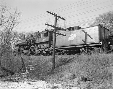2009.026.01.10963--ritzman 4x5 neg--C&NW--steam locomotive 4-4-2 D 395 (retired) at NWS&W for scrapping--Sterling IL--1954 1223