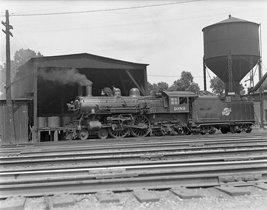 2009.026.01.10435--ritzman 4x5 negative--C&NW--steam locomotive 4-4-2 D 1089 at coal dock--Freeport IL--1937 0805