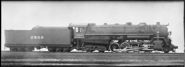 2009.026.01.13088--ritzman 5x7 COPY negative--C&NW--steam locomotive 2-8-4 J-4 2806--builders view--no date