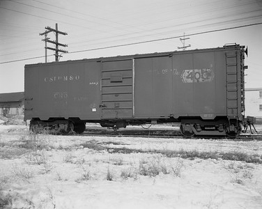 2009.026.14.12606 2--ritzman 4x5 negative--CStPM&O--express boxcar 20044--DeKalb IL--1960 0314. Arrived on train #3.