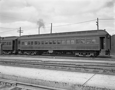 2009.026.14.12604--ritzman 4x5 negative--CStPM&O--coach 760 on train 703 706--Freeport IL--1950 0414. Train #703/706.