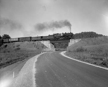 2009.026.03.12570--ritzman 4x5 negative--CStPM&O--steam locomotive 2-8-2 J-A 440 on freight--near Elroy WI--1955 1008. With southbound freight.