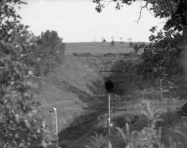2009.026.16.12624--ritzman 4x5 negative--CStPM&O--tunnel--north of Elroy WI--no date. Tunnel #4, south portal.